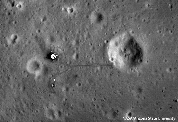 This picture, taken by the Lunar Reconnaissance Orbiter in 2012, shows the Apollo 11 landing site.