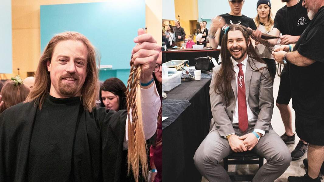 Longhairs co-founders get haircut at charity event