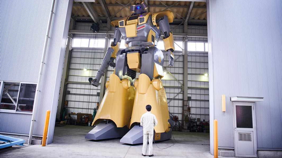 The largest humanoid vehicle measures 8.46 m (27 ft 9 in) in height, 4.27 m (14 ft) in length, and 4 m (13 ft 1 in) in width, and was achieved by Mononofu built by Sakakibara Kikai Co., Ltd in Japan